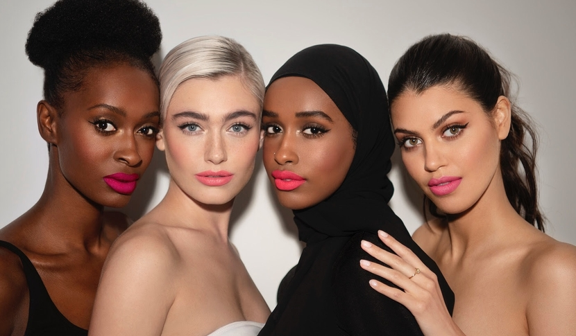 Models showing off Lisa Eldridge's new Summer Collection lipsticks, in 4 shades of pink!
