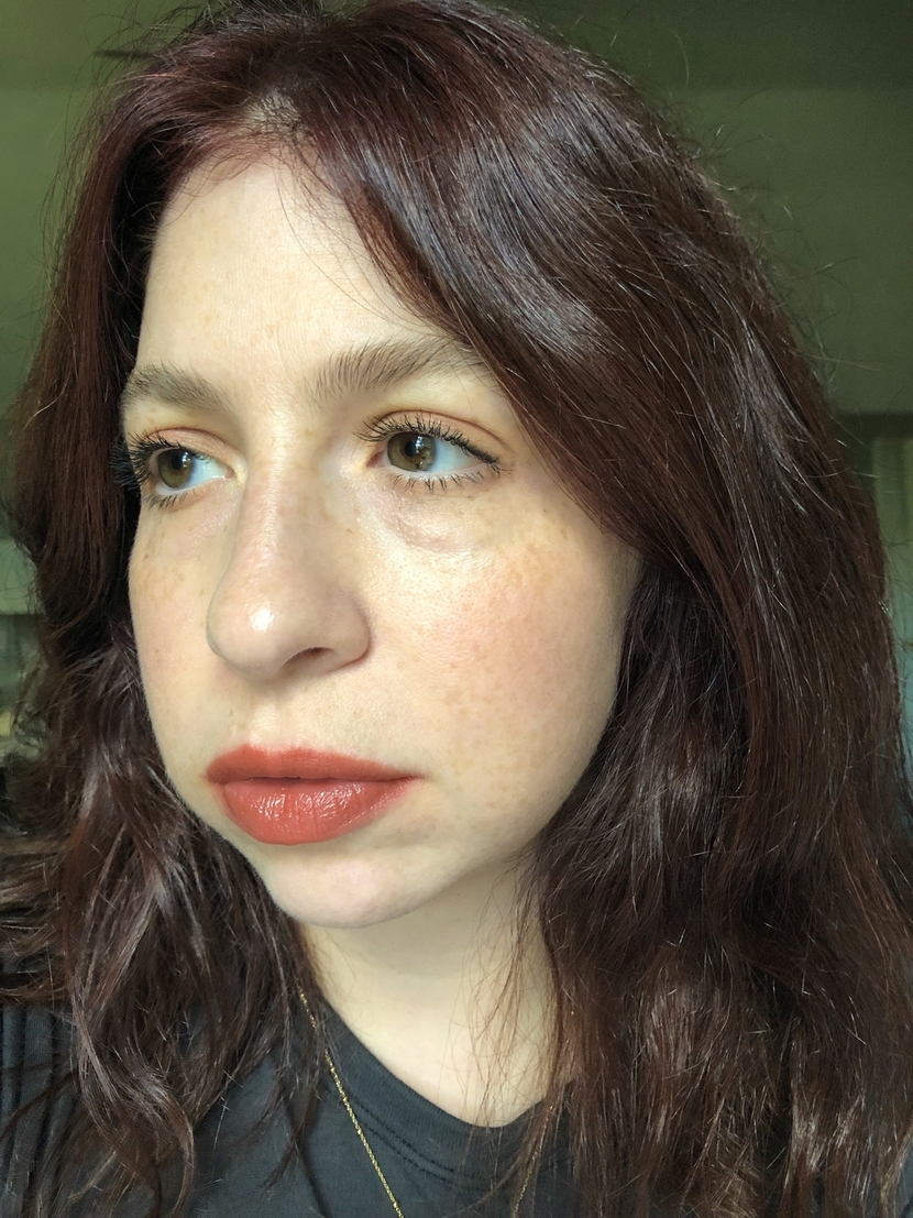 Makeup look with bold terracotta lip - inspired by change