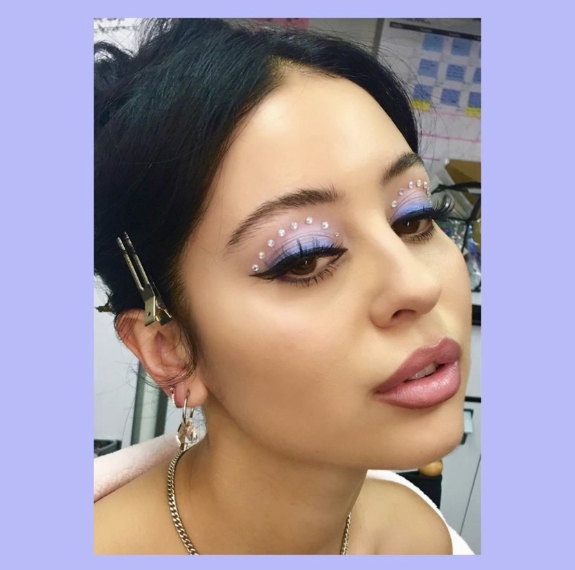 The character Maddie from Euphoria with sequin-studded winged liner look