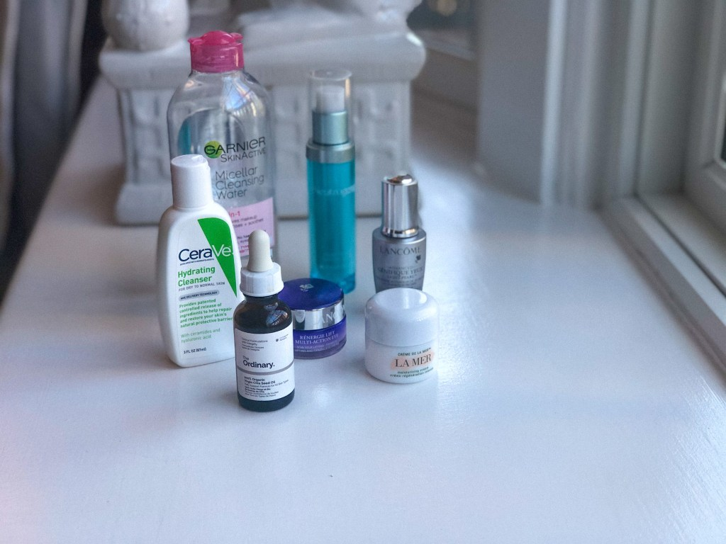 Product lineup in my winter skincare routine for dry skin