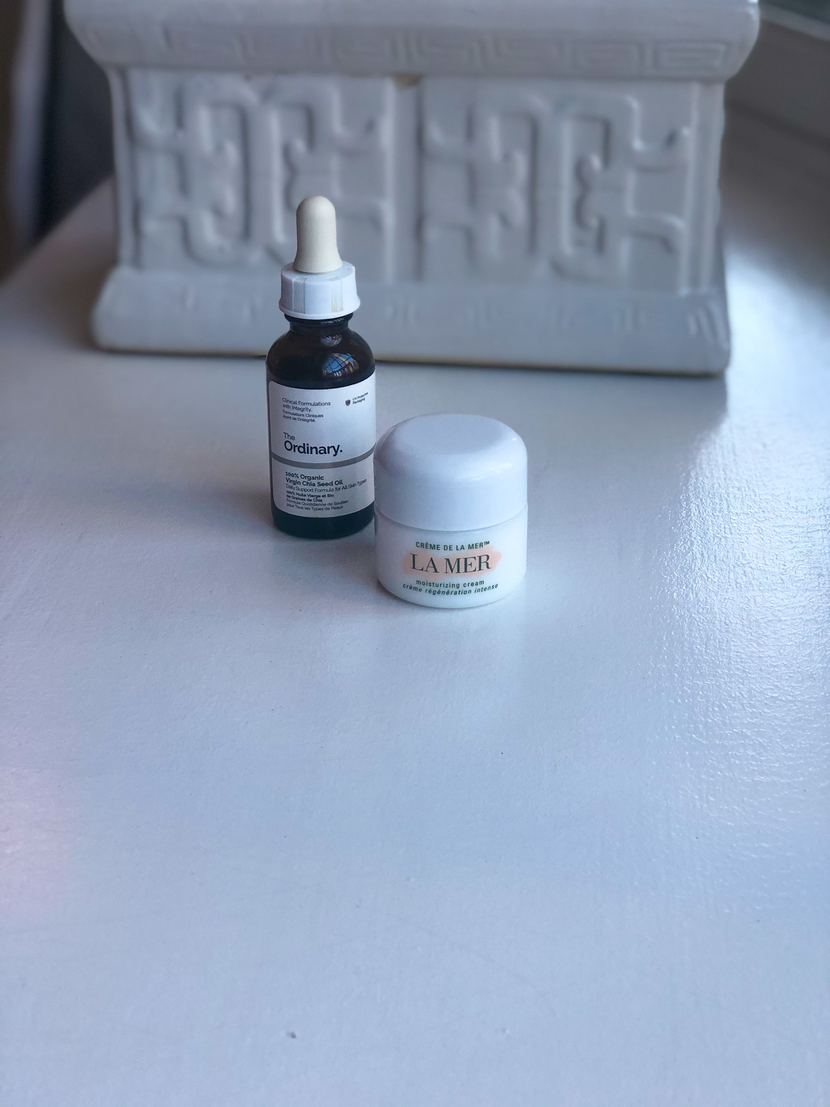 The Ordinary Chia Seed Oil & La Mer Moisturizing Cream - my winter skincare routine for dry skin