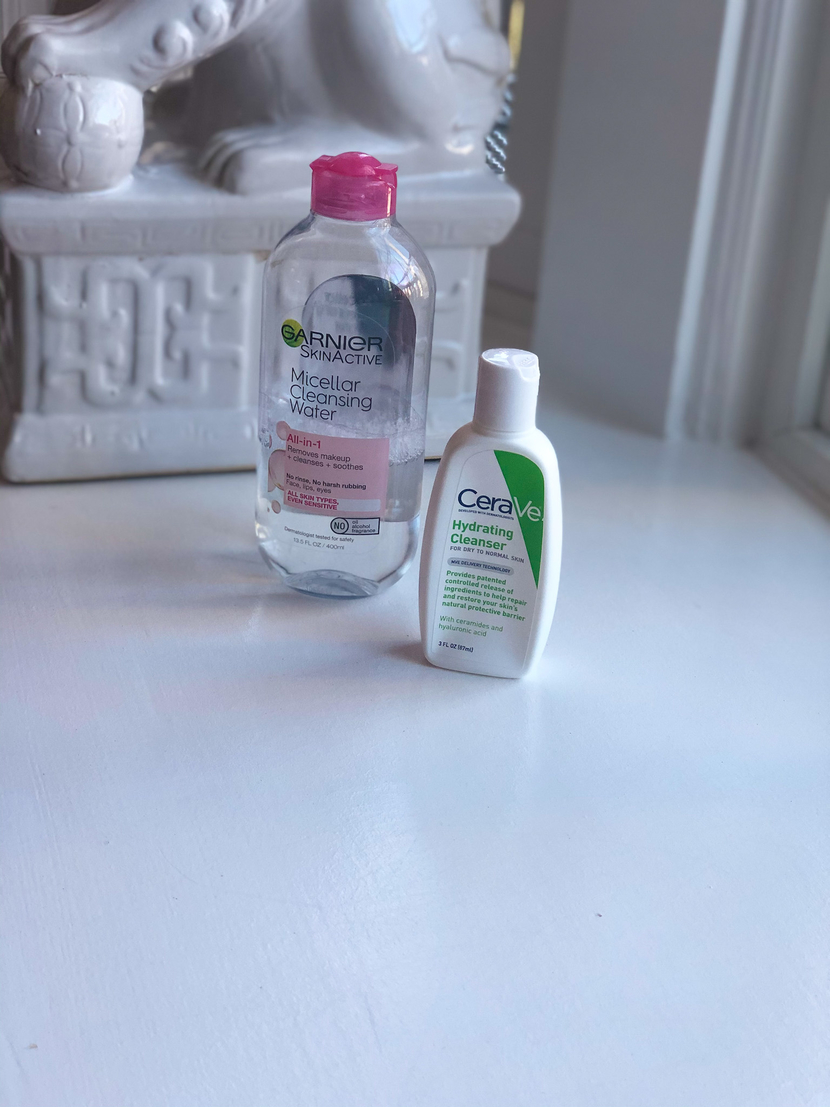 Garnier Micellar Water & CeraVe Hydrating Facial Cleanser - my winter skincare routine for dry skin