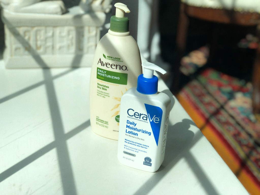 drugstore hand creams from Aveeno and CeraVe