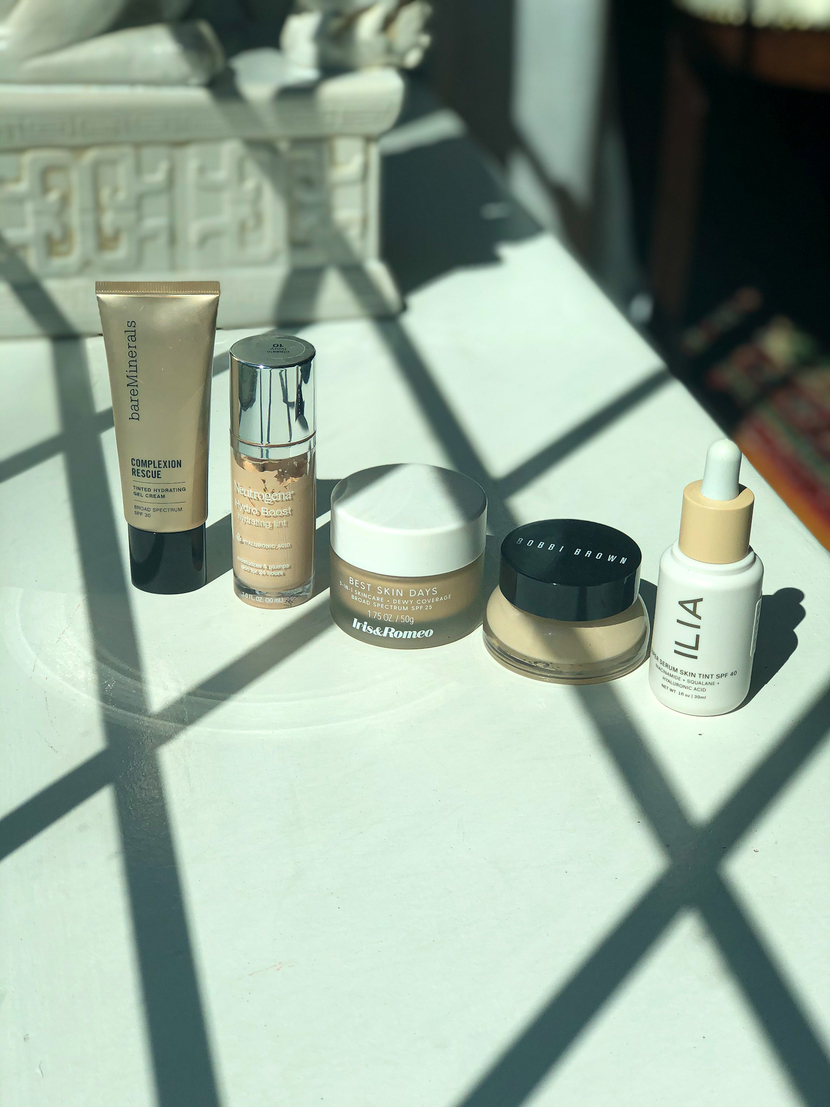 My current foundation collection featuring Bare Minerals, Neutrogena, Iris & Romeo, Bobbi Brown & Ilia Beauty