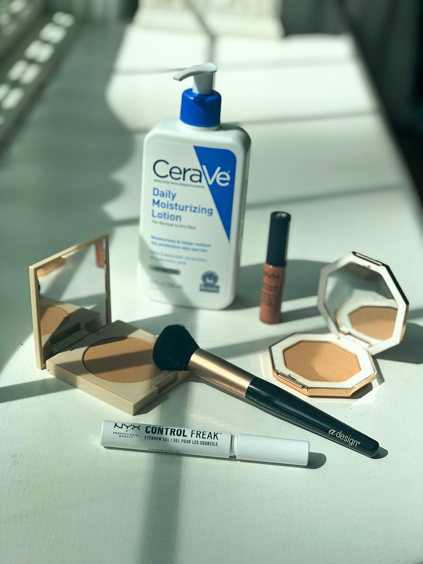 Five products I'm loving feat. CeraVe Daily Moisturizing Lotion, aDesign Professional Blush Brush, NYX Control Freak Brow Gel, NYX Soft Matte Lip Cream, bronzers from Ilia Beauty & Fenty Beauty