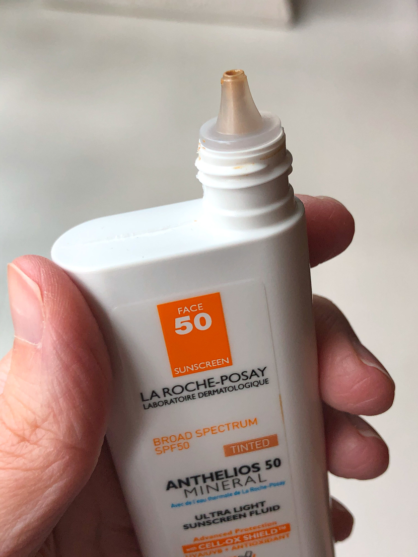 Showing packaging of the La Roche Posay Anthelios Mineral Tinted Sunscreen, my lightweight SPF of choice for summer 2020