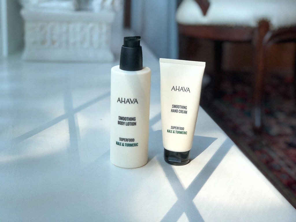 Ahava Superfood Body Care including Smoothing Hand Lotion, and Smoothing Body Lotion