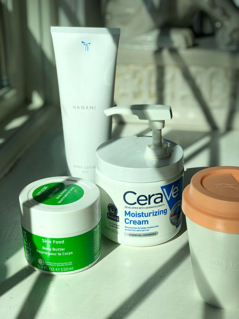 My body care collection, feat. Weleda Skin Food Body Butter, Phlur Hanami Body Lotion & CeraVe Daily Moisturizing Cream