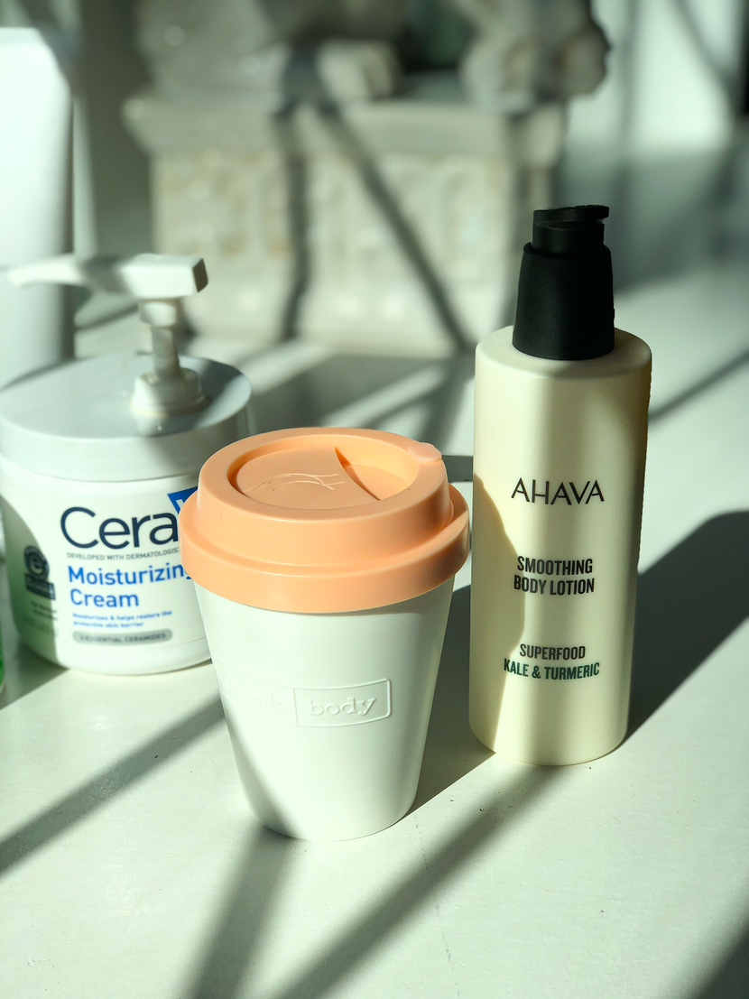 My body care collection, feat. Frank Body Perky Sculpting Body Hydrator, & AHAVA Superfood Smoothing Body Lotion