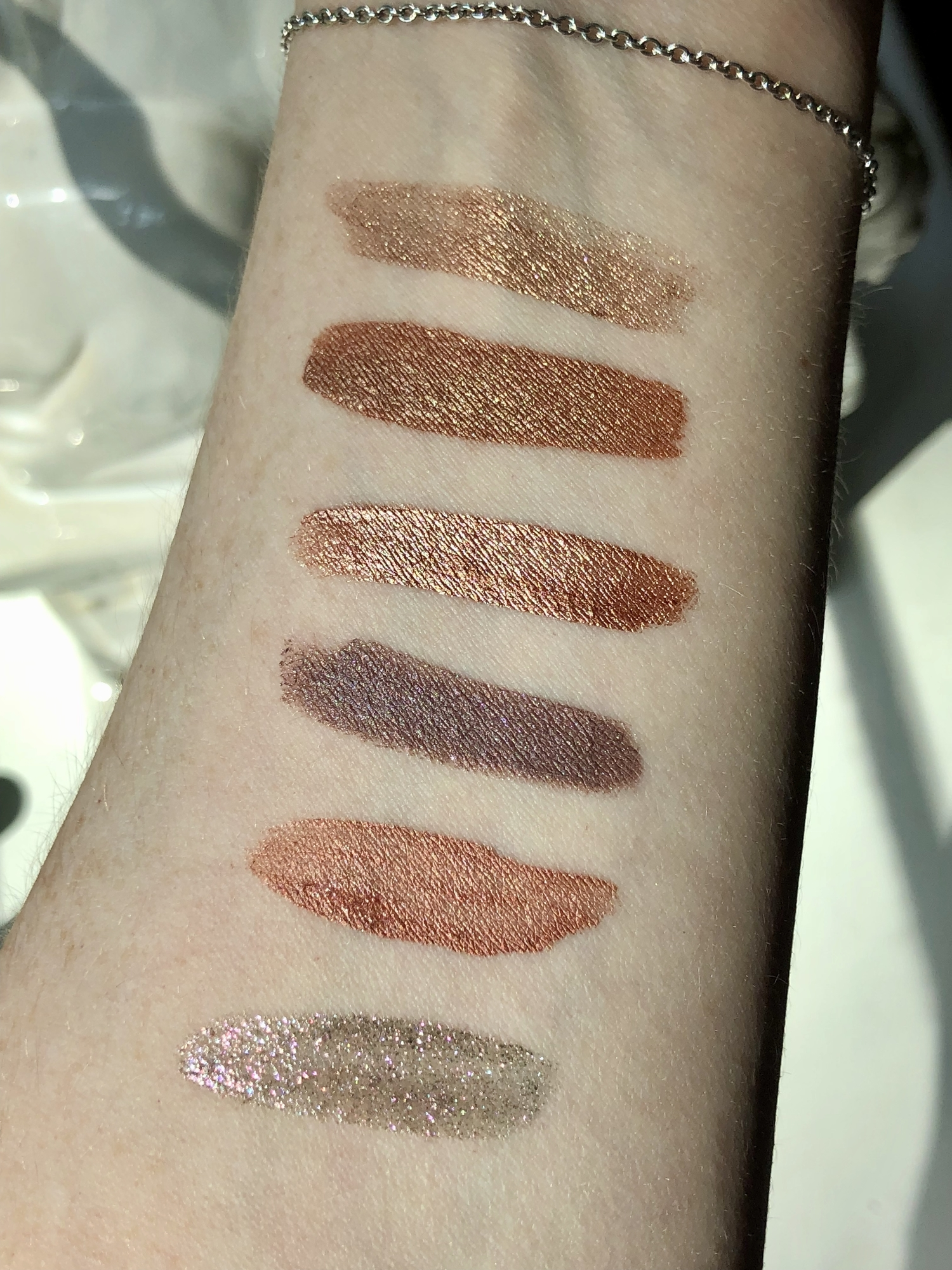 Swatches of all my liquid eyeshadows from Kosas, Dome Beauty, Flower Beauty & ILIA