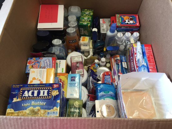 Some of the many items collected for our service members.