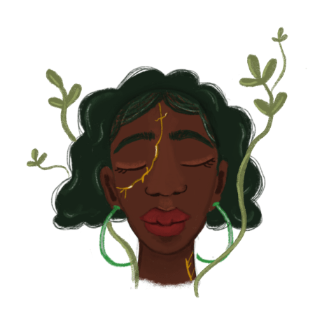 Illustration of black woman with green hair and green earrings with eyes closed plants growing around her