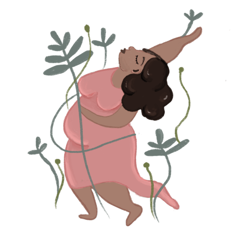 Pregnant woman in pink dress with plants growing around her