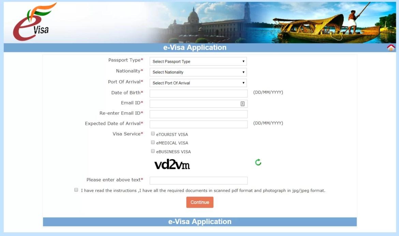 La prima schermata da compilare per richiedere il visto elettronico per l' India è molto semplice: tipo di visto, passaporto, generalità, email e data di arrivo. Ricordatevi di tenere già da parte la scansione del passaporto e la foto, successivamente vi verrà chiesta.