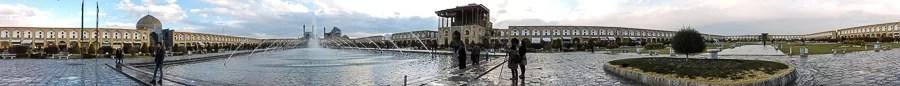 Panoramica di Naqsh-e Jahan Square o Piazza dell'Imam a Isfahan
