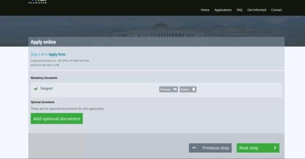 la seconda schermata del portale per ottenere il visto elettronico per il Tajikistan vi chiede di caricare la copia digitale della pagina con i dati del vostro passaporto