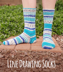 May 2019 KAL Line Drawing Socks with The Chilly Dog