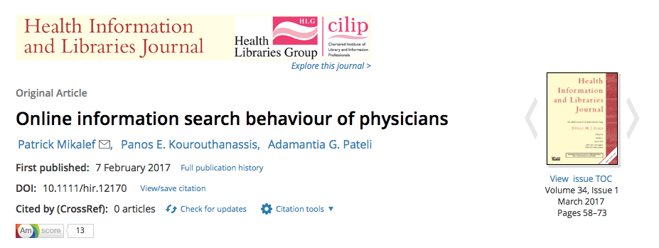 Physician search behaviour