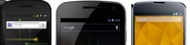 l'heure des Nexus indiquent leur version Android