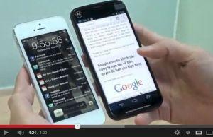video de présentation du Moto X, ici à côté de l'iPhone 5