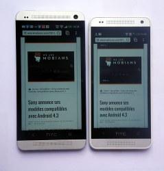 le HTC One Mini à droite affiche la page mobile de WeAreMobians.com