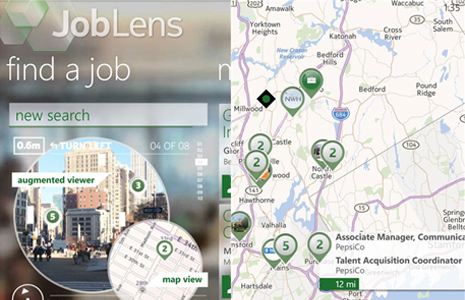 JobLens recherche d'emploi avec la caméra de son Windows Phone