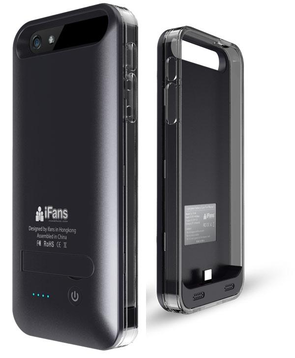 Coque Batterie Ultra Slim iFANS 2400mAh pour iPhone 5 (Noir / Certifiée Apple)