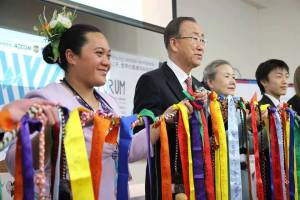 "Inangaro with UN-General Secretary Ban Ki-moon at the World Conference on Disaster Risk Reduction. ""We are the human face of this man-made disaster"""