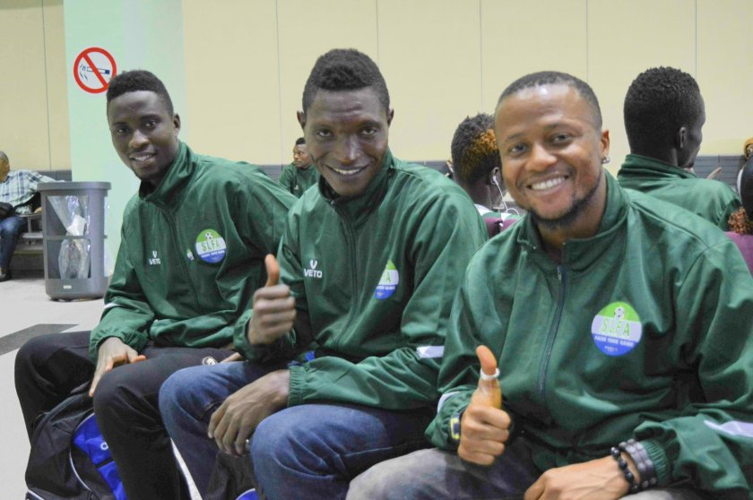 "[""It's sad not to play games in front of our crowd, but watch out for us in Rio!"" - Alfred Nyuma, central midfielder (right). Also Suma Sabu, Centre Back, (centre), Abu Bakarr Mensaray, Attacking Midfielder"