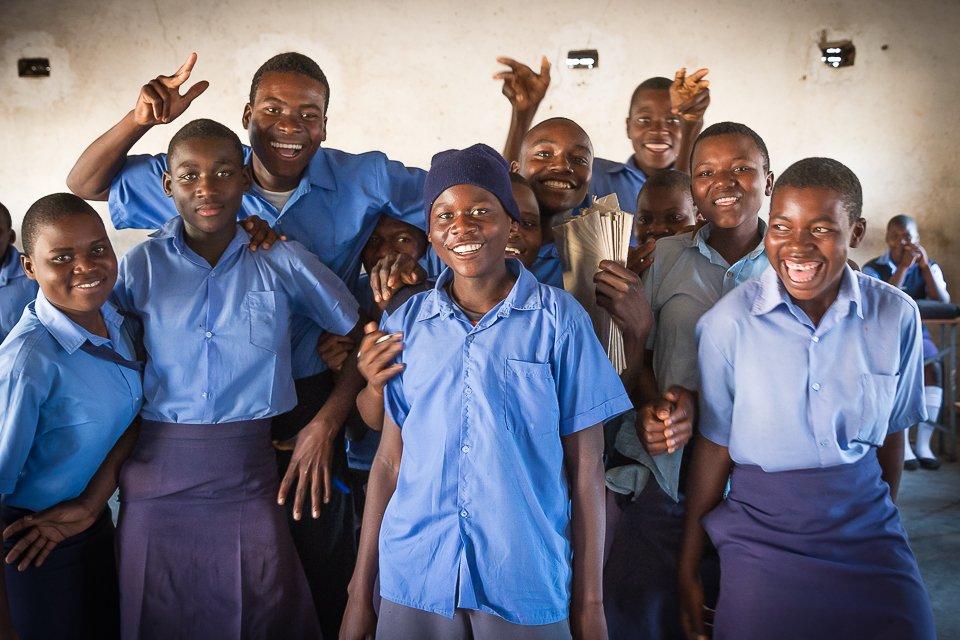 """Smile!"" Students at St Henry's Chikurumadziva secondary school, Zimbabwe (PC Restless Development/ Bad Rabbit Studios)"