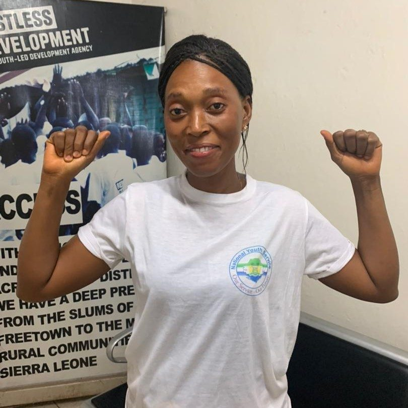 A picture of Kadie Kabba at the Restless Development office. She is working to tackle the issue of financing in Sierra Leone.