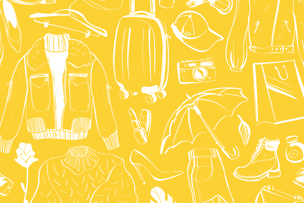 Illustration of different types of fashion items on a yellow background