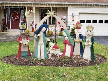 This is our outdoor scene. This nativity is one of our favorite Christmas decorations. Several years ago, we started using it as a decoration for the bazaar. Bill and Nancy C.