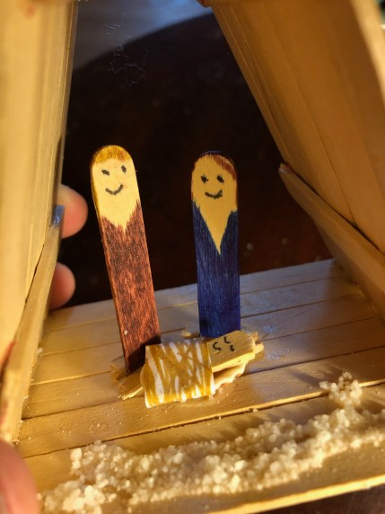 This was made with my nephew David when he was about 9. We made other ornaments, but he asked to make this. Behold the power of the popsicle stick. Nancy H.