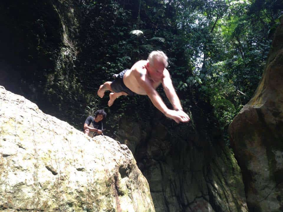 Cliff diving in the jungle