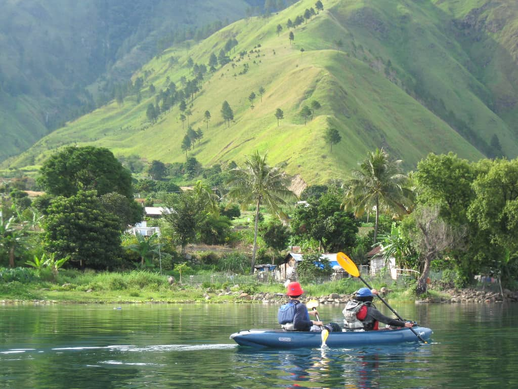 Kayaking on Lake Toba