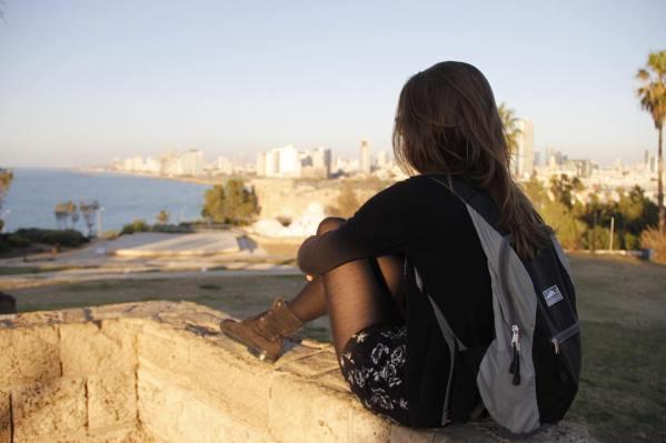 Meisje, uitzicht, Israël, Tel Aviv, zee
