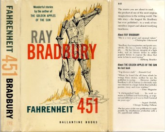Front cover of the first hardcover edition of Fahrenheit 451. Cover illustration by Joe Mugnaini