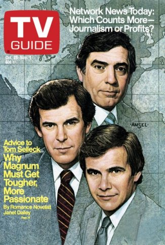 Amsel's final TV Guide cover, featuring the three networks' evening news anchors (Dan Rather, Peter Jennings, and Tom Brokaw), 1985