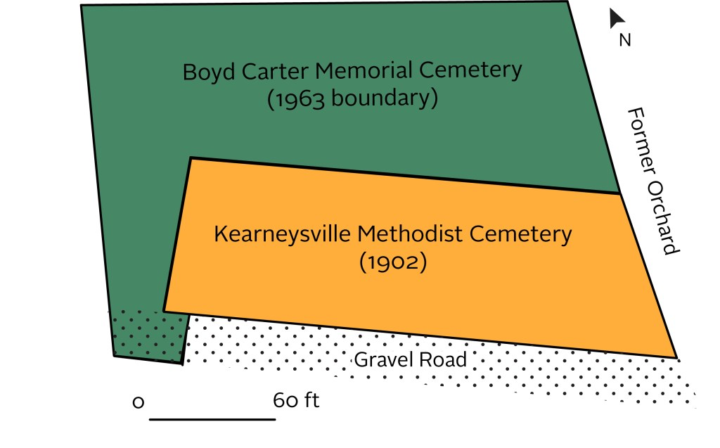 A map of the Boyd Carter Kearneysville Methodist Cemetery