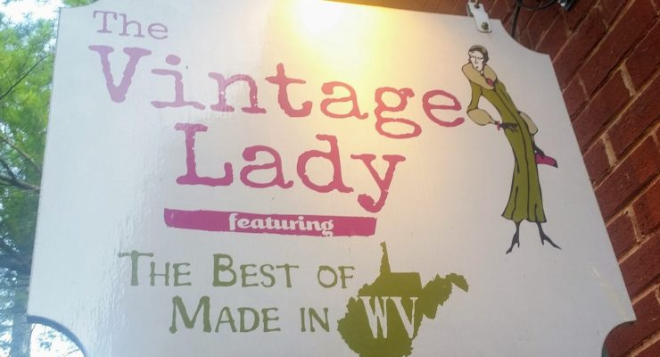Sign for The Vintage Lady shop in Harpers Ferry
