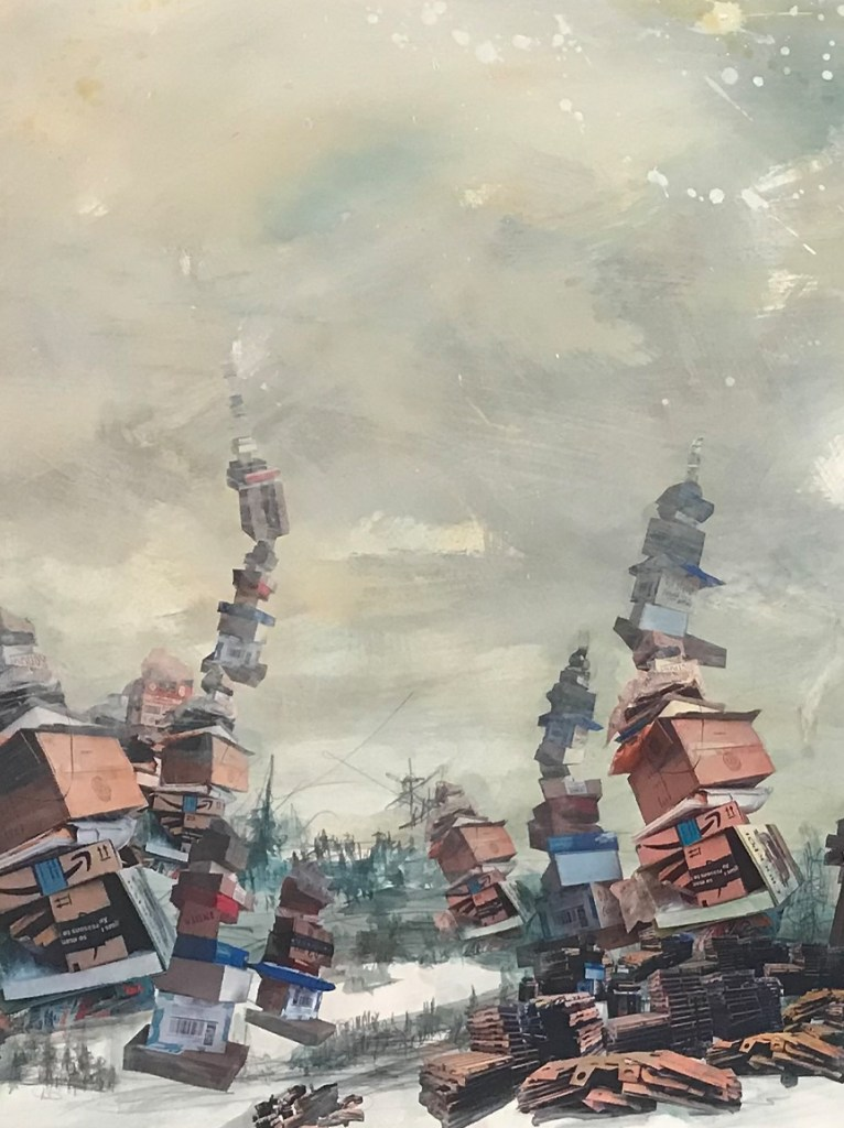 """Artwork by Sonya Evanisko called """"when daylight never came"""" created in response to global shipping practices and consumerism."""