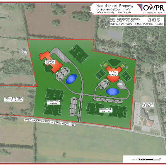 A 2019 concept map for the new Shepherdstown Elementary School. The concept map illustrates how the new campus will also have room for a new middle school.