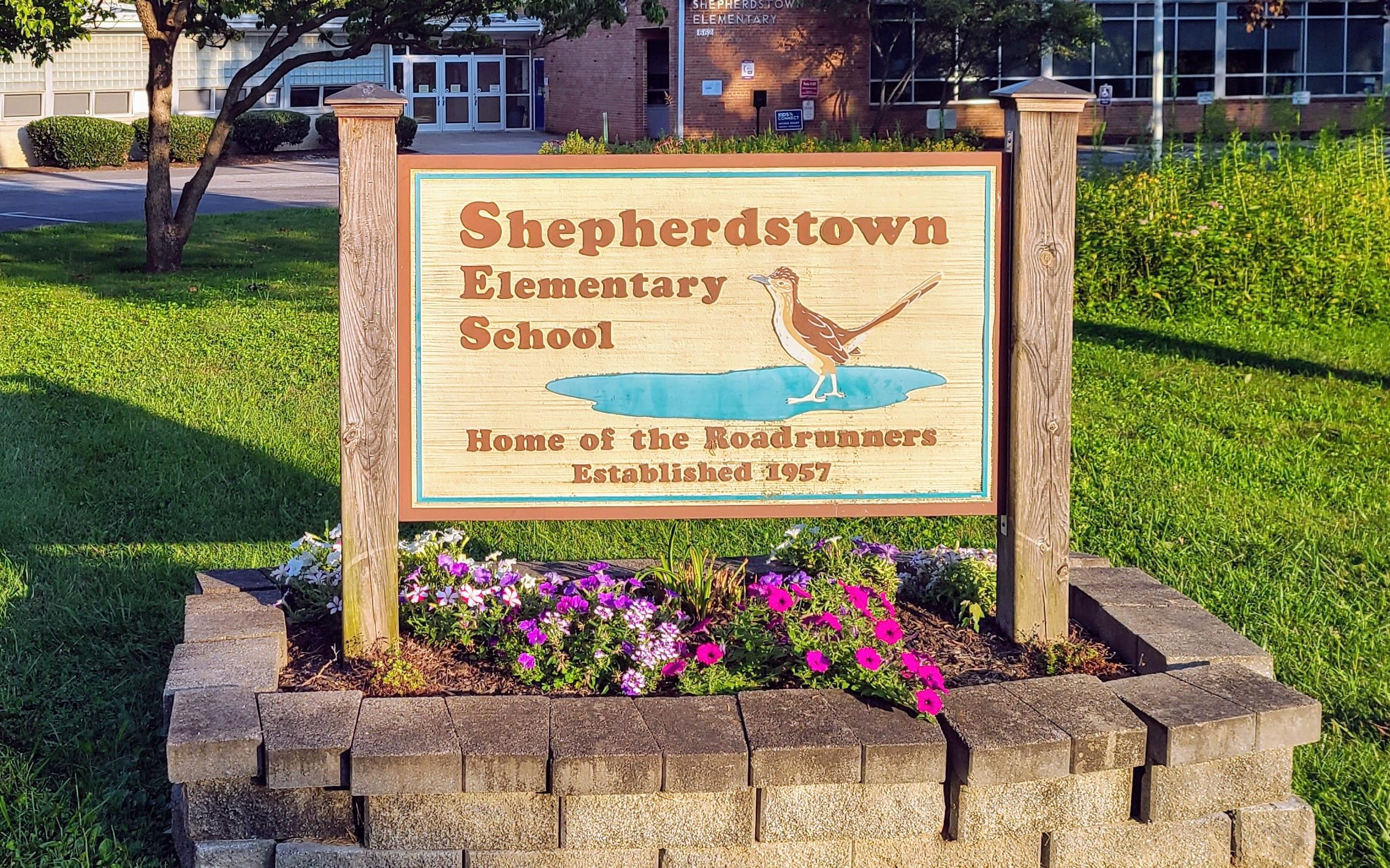 Sign for Shepherdstown Elementary School, established 1957.