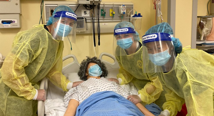Nursing students practice in the simulations labs at Shepherd University.