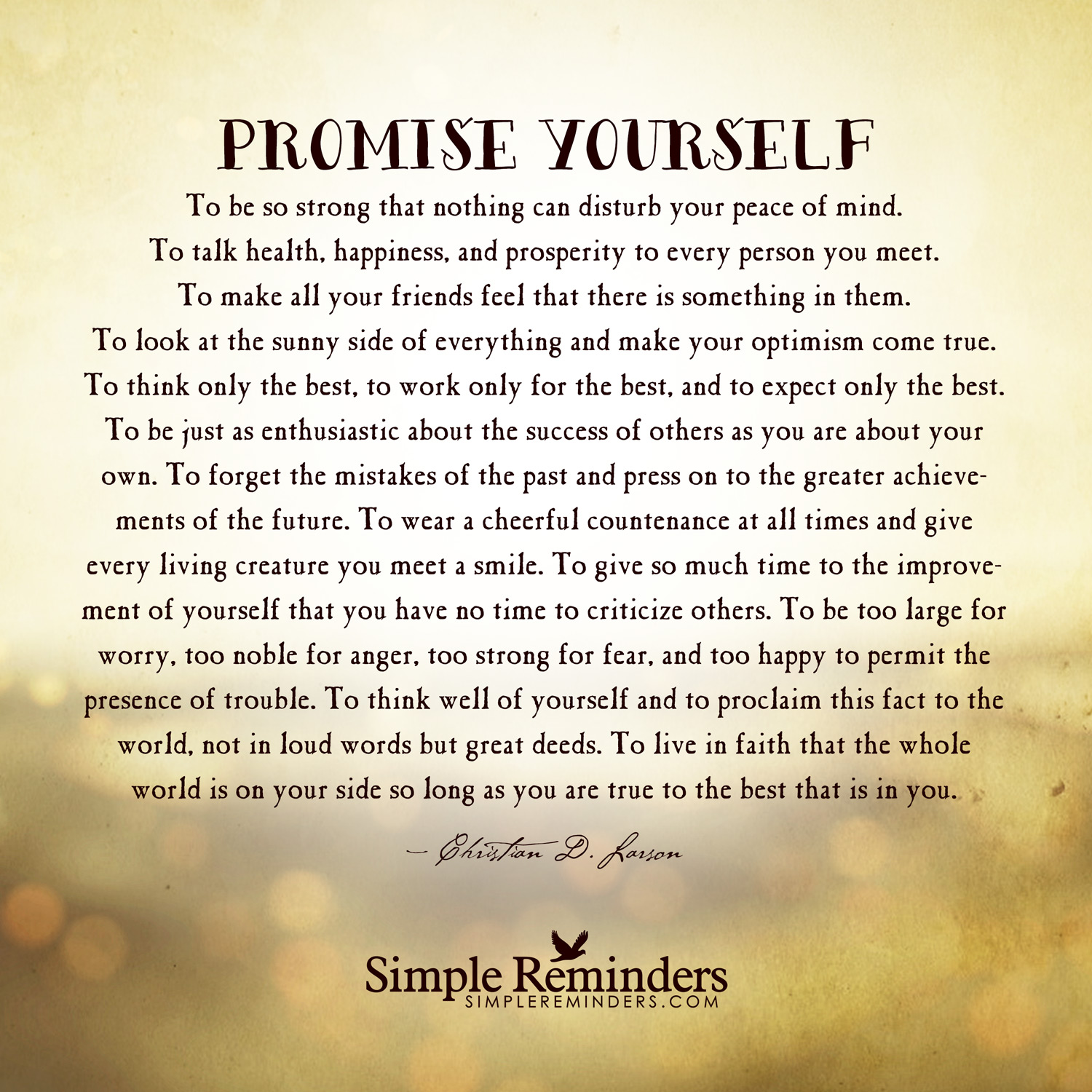 Promise Yourself Fulfill Your Promise Remembrance