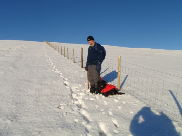 Bella and my Dad going to Kentmere in the snow