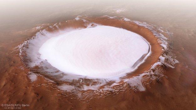 Mars Express fotografeyret prachtigen yskrater up Roden Planeet