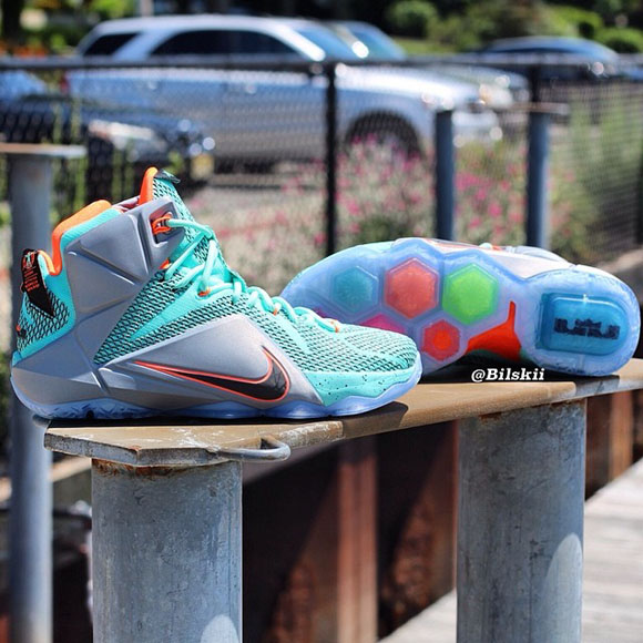 Nike LeBron 12 Turquoise  Grey  Crimson - Black - Another Look + ... 4658f6125
