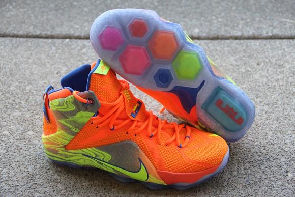 huge discount c9977 33856 ... Nike LeBron 12 Orange  Volt - Detailed Look 4 ...
